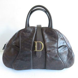 Christian Dior Double Saddle Bag Satchel Leather
